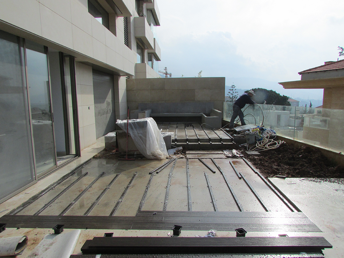 Wooden deck fixing.
